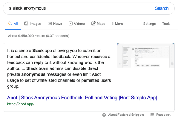 Abot Slack app displayed as Google featured snippet