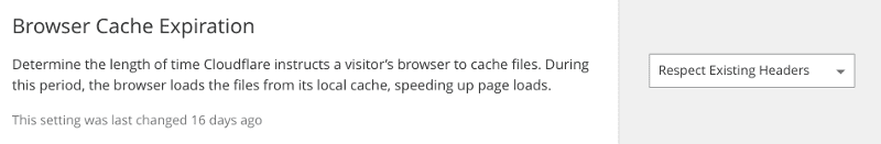 Cloudflare cache expiration setting