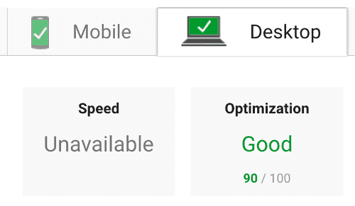 Google speed ranking on desktop